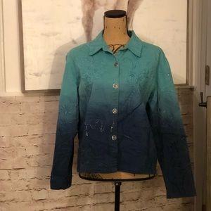 EUC Chico's mixed media chic jean jacket 2 L 12